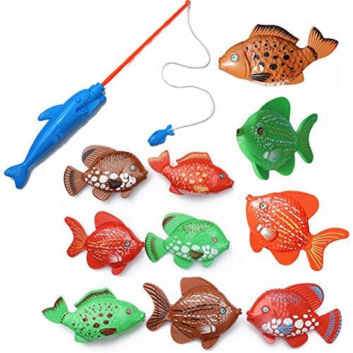 10Pcs Big Fishes125cm  One Magnetic Fishing Pole34cm Kids Fishing Bath Toys Playset
