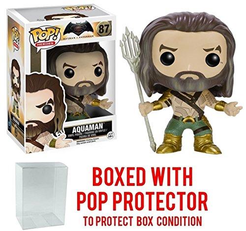 Funko POP Movies DC Comics Batman vs Superman Dawn Of Justice - Aquaman 87 Vinyl Figure Bundled with Pop BOX PROTECTOR CASE