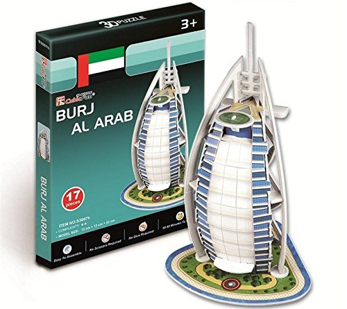 Zieast CubicFun 17 Pcs Burj Al Arab 3D Puzzle boys girls Model Paper DIY Educational toys