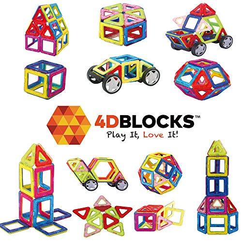 4DBlocks - Play it  Love it - Magnetic Building Block Set - 84 Pieces - Promotes Creativity Imagination Brain Development - The Best Combination Of Recreation Education For Children