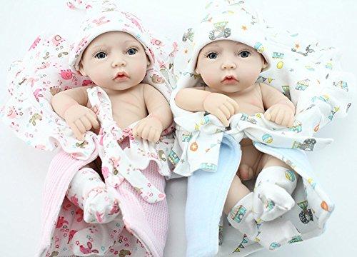 Boy and Girl 10 Lifelike Reborn Bathing Baby Alive Twins Waterproof Vinyl Doll Real Look Toys Gift