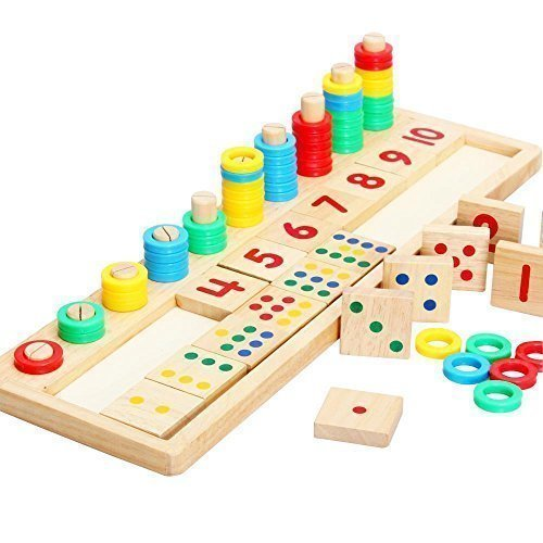 Baby Early Educational Toys Montessori Materials Gift Wood Math Blocks Shape Sorter Knob Puzzle Learning 1732 X 551 X 059 Inch by Netlab-Toy