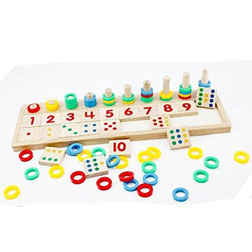 eonkoo Baby Early Educational Toys Montessori Materials Gift Wood Math Blocks Shape Sorter Knob Puzzle Learning