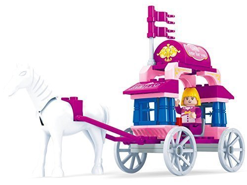 Ausini Fairy-Land White Horse and a Wagon with a Girl Princes Building Blocks Educational Set Compatible Blocks 57 Piece