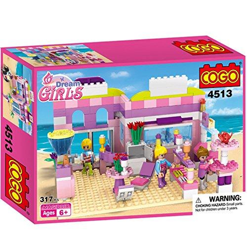 COGO Dream Girls House Ice Cream Shop Sweet Dessert Store Birthday Gift Preschool Toys for Girls Building Blocks Playset Kits 317 Bricks CG4513