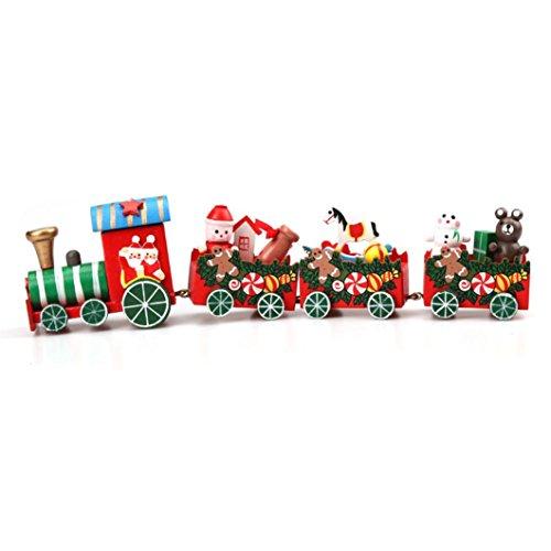 Lisingtool Toys4 Pieces Wood Christmas Xmas Train Decoration Decor Gift