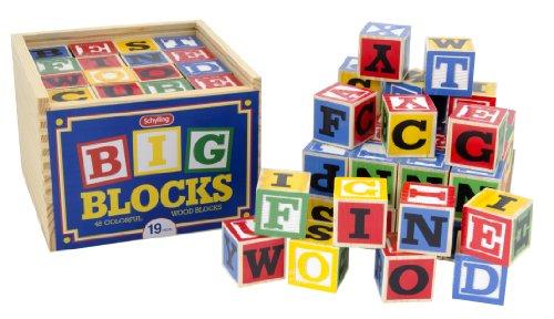 Schylling ABC Big Blocks - 48 Piece Wood Alphabet Blocks