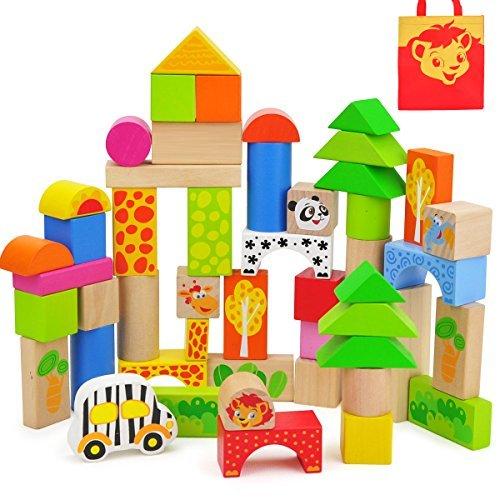 TOP BRIGHT 50-Pieces Wood Blocks Set