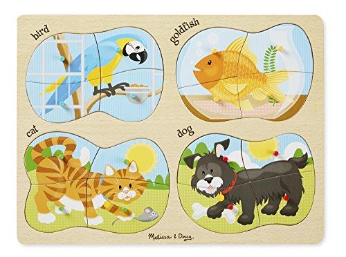 Melissa Doug Pets 4-in-1 Wooden Peg Puzzle - Bird Goldfish Cat and Dog 16 pcs