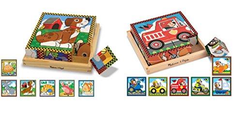 Pets and Vehicles Cube Wood Puzzle Combo Set - Melissa Doug