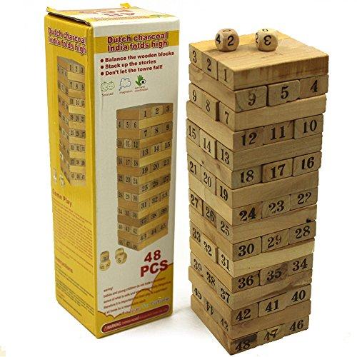 Darius 48pcs Classic Wooden Tumbling Tower Blocks Drinking Game
