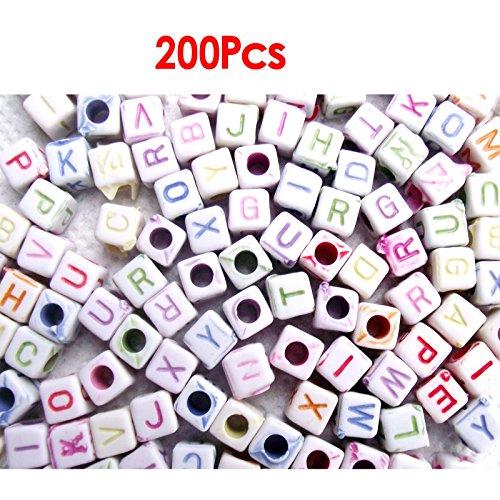 Plastic Beads - SODIALR 200 Letter Cubes 6 mm Plastic Beads White