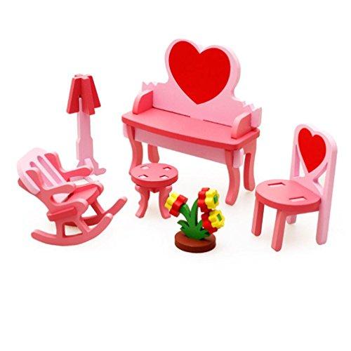 Educational Toy Franterd Children Wooden Blocks 3D Puzzle Home Table Chair Dresser