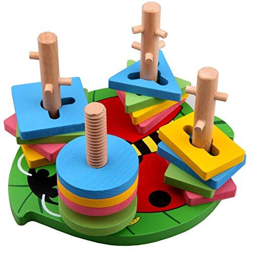 Linshop Jingle Wood Set Column Shape Color Beetle Shape Blocks of Cognitive Intelligence Wooden Toys
