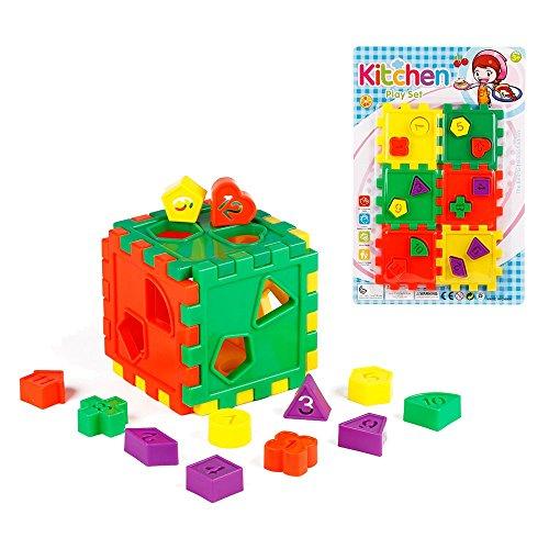Toyerbee Plastic Interlocking Toys Montessori Teaching Aid Building Blocks Shape Sorter Cube Toy For Kids
