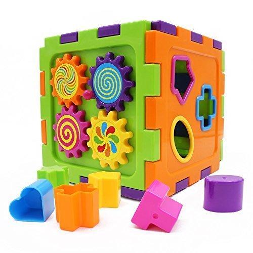 Wishland Baby Toys Activity Cube Babys First Blocks Geometric Square Shape Sorter Cube